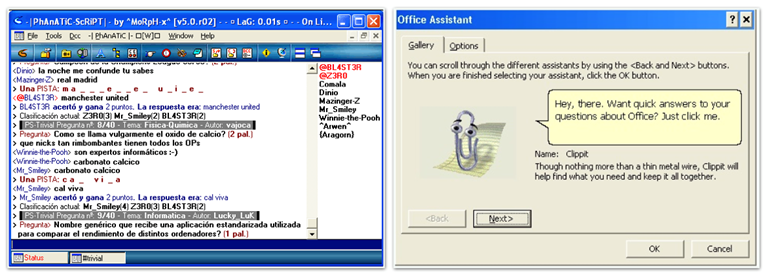 Chatbot irc hispano y clippy microsoft office