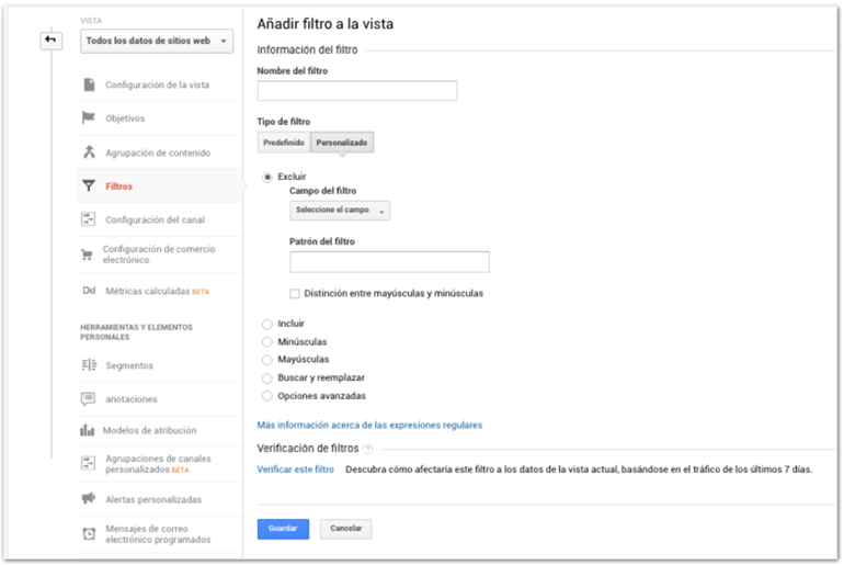Tráfico interno Google Analytics