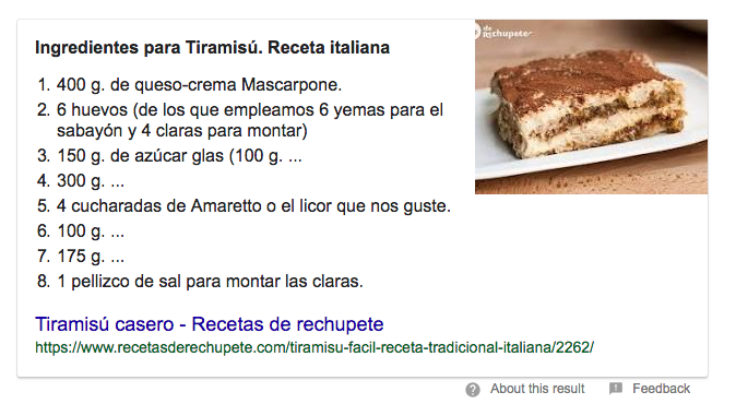 Ejemplo de featured snippet