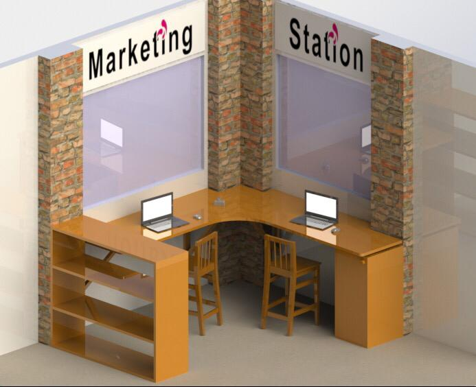A mock up of how the Marketing Station will look